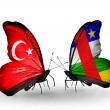 Two butterflies with flags on wings as symbol of relations Turkey and CAR — Stockfoto