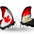 Two butterflies with flags on wings as symbol of relations Canada and Egypt — Stockfoto