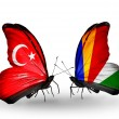 Two butterflies with flags on wings as symbol of relations Turkey and Seychelles — Stock Photo