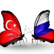 Two butterflies with flags on wings as symbol of relations Turkey and Russia — Stockfoto