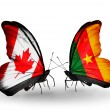 Two butterflies with flags on wings as symbol of relations Canada and Cameroon — Stockfoto