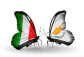 Two butterflies with flags on wings as symbol of relations Italy and Cyprus — Stock Photo