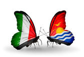 Two butterflies with flags on wings as symbol of relations Italy and Kiribati — Stock Photo