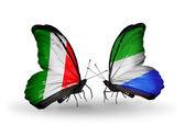 Dos mariposas con banderas en las alas como símbolo de las relaciones italia y sierra leona — Foto de Stock