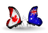 Two butterflies with flags on wings as symbol of relations Canada and Australia — Stockfoto
