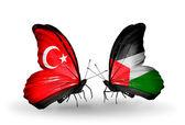 две бабочки с флагами на крылья, как символ отношений турции и палестины — Стоковое фото