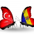 Two butterflies with flags on wings as symbol of relations Turkey and  Moldova — Stock Photo