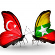 Two butterflies with flags on wings as symbol of relations Turkey and  Myanmar — Stock Photo
