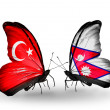 Two butterflies with flags on wings as symbol of relations Turkey and  Nepal — Stock Photo