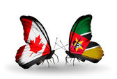 Two butterflies with flags on wings as symbol of relations Canada and Mozambique — Stock Photo