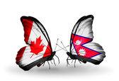 Две бабочки с флагами на крыльях как символ отношений Канады и Непала — Стоковое фото