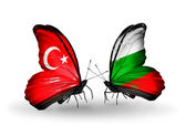 Two butterflies with flags on wings as symbol of relations Turkey and Bulgaria — Stock Photo
