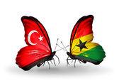 Zwei schmetterlinge mit flaggen am flügel als symbol der beziehungen der türkei und ghana — Stockfoto