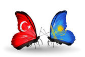 Two butterflies with flags on wings as symbol of relations Turkey and Kazakhstan — Foto Stock