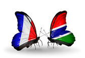 Two butterflies with flags on wings as symbol of relations France and Gambia — Stock Photo