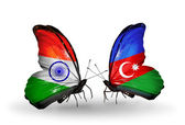 Two butterflies with flags on wings as symbol of relations India and Azerbaijan — Foto de Stock