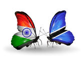 Two butterflies with flags on wings as symbol of relations India and Botswana — Stock Photo