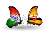 Two butterflies with flags on wings as symbol of relations India and Brunei — Stock Photo
