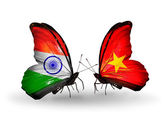 Two butterflies with flags on wings as symbol of relations India and Vietnam — Stock Photo
