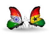Two butterflies with flags on wings as symbol of relations India and Ghana — Stock Photo
