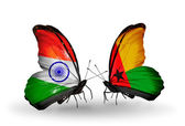 Two butterflies with flags on wings as symbol of relations India and Guinea Bissau — Stock Photo