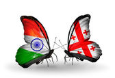 Two butterflies with flags on wings as symbol of relations India and Georgia — Stock Photo