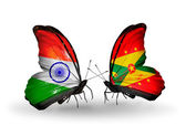 Two butterflies with flags on wings as symbol of relations India and Grenada — Stock Photo