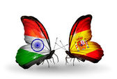 Two butterflies with flags on wings as symbol of relations India and Spain — Foto de Stock