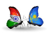 Two butterflies with flags on wings as symbol of relations India and Kazakhstan — Stock Photo