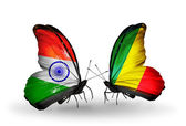 Two butterflies with flags on wings as symbol of relations India and Kongo — Стоковое фото