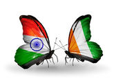 Two butterflies with flags on wings as symbol of relations India and Cote Divoire — Stock Photo