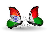 Two butterflies with flags on wings as symbol of relations India and Madagascar — Stock Photo
