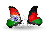 Two butterflies with flags on wings as symbol of relations India and Malawi — Stock Photo