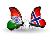 Two butterflies with flags on wings as symbol of relations India and Norway — Stock Photo