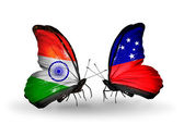 Two butterflies with flags on wings as symbol of relations India and Samoa — Stock Photo