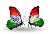 Two butterflies with flags on wings as symbol of relations India and Tajikistan — Stock Photo