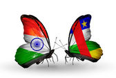 Two butterflies with flags on wings as symbol of relations India and CAR — Stock Photo