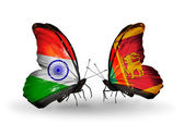 Two butterflies with flags on wings as symbol of relations India and Sri Lanka — Stockfoto