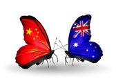 Two butterflies with flags on wings as symbol of relations China and Australia — Stock Photo