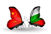 Two butterflies with flags on wings as symbol of relations China and Bulgaria — Stock Photo