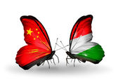 Two butterflies with flags on wings as symbol of relations China and Hungary — Stock Photo