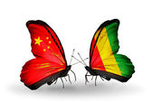 Two butterflies with flags on wings as symbol of relations China and Guinea — Stock Photo
