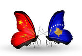 Two butterflies with flags on wings as symbol of relations China and Kosovo — Stock Photo