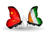 Two butterflies with flags on wings as symbol of relations China and Cote Divoire — Stock Photo