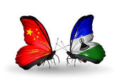 Two butterflies with flags on wings as symbol of relations China and Lesotho — Stock Photo