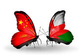 Two butterflies with flags on wings as symbol of relations China and Oman — Stock Photo
