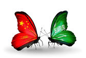 Two butterflies with flags on wings as symbol of relations China and Saudi Arabia — Stock Photo