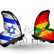 Постер, плакат: Two butterflies with flags on wings as symbol of relations Israel and Grenada