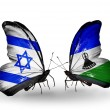 Two butterflies with flags on wings as symbol of relations Israel and Lesotho — Stock Photo