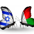 Two butterflies with flags on wings as symbol of relations Israel and Madagascar — Stock Photo